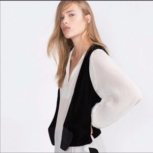 ZARA BASIC BLACK OPEN DRAPE VEST